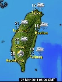 La météo du 27 Mars à Taiwan